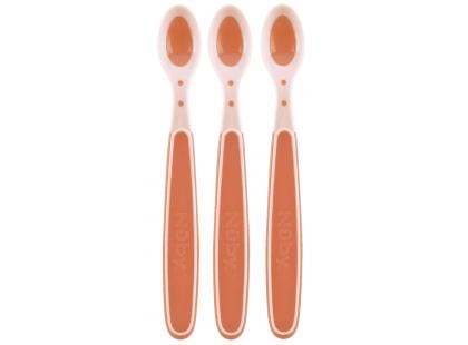 Nuby Lžičky s tepelným senzorem 3ks růžová