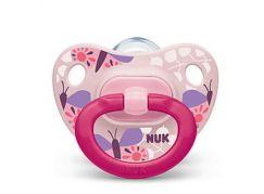Nuk Dudlík Classic Happy Days, SI, V1 0-6m motýlci růžový