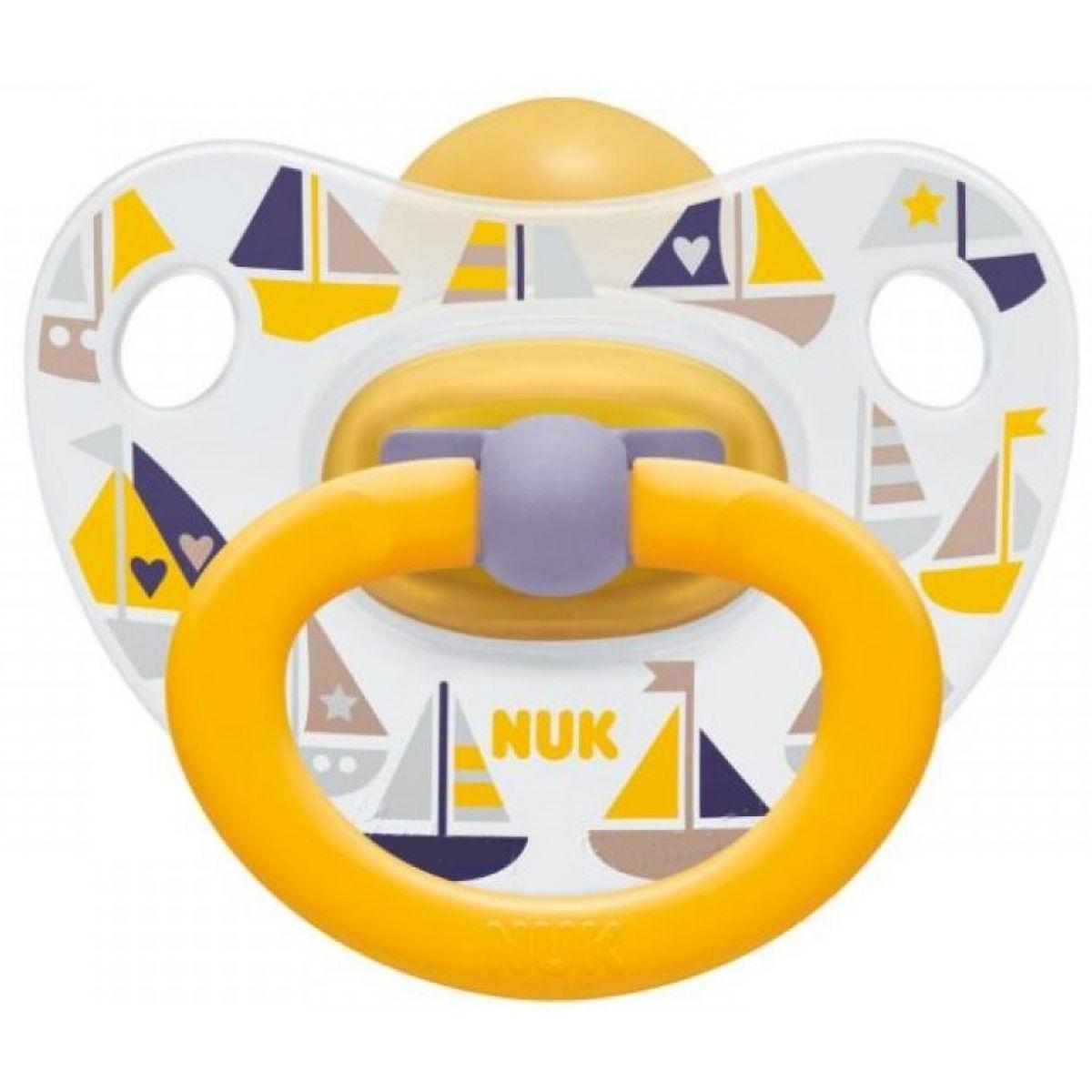 Nuk Dudlík Classic Happy Kids 0-6m - Lodičky žlutá