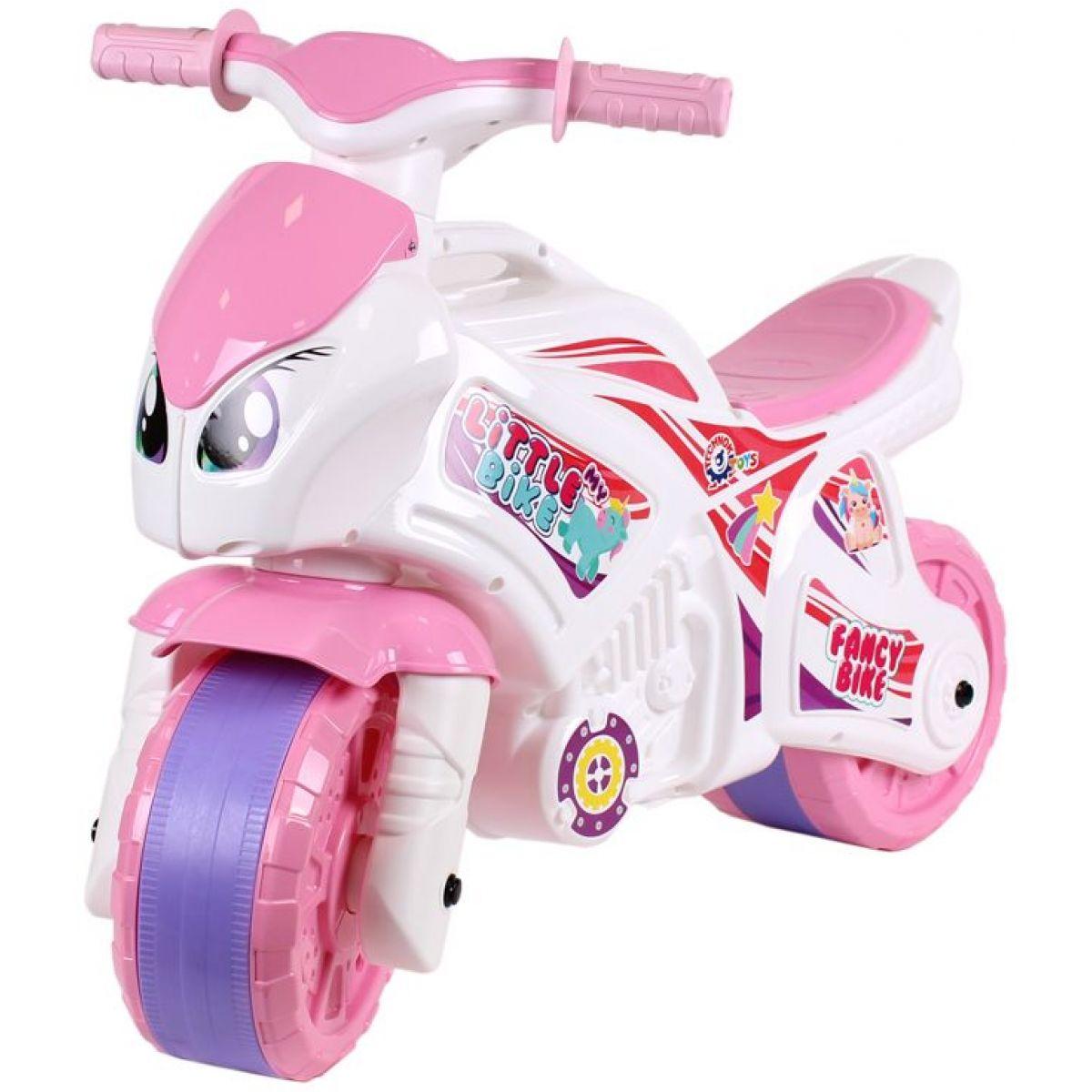 Odrážedlo motorka růžovo-bílá plast v sáčku 35 x 53 x 74 cm