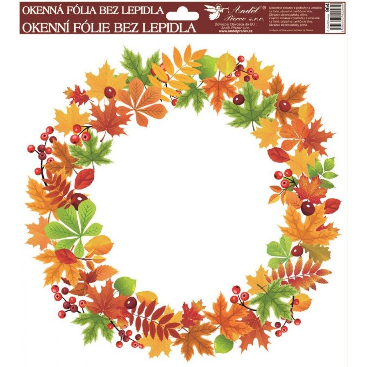 Okenní fólie 30 x 30 cm, podzimní věnce listí se šípky