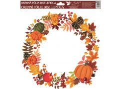 Okenní fólie 30 x 30 cm, podzimní věnce listí s dýněmi