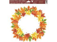 Okenní fólie 30 x 30 cm, podzimní věnce barevné listí
