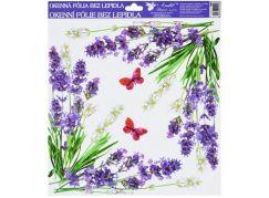Okenní fólie 30x30 cm, levandule rohové s motýly
