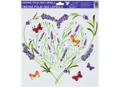 Okenní fólie 30x30 cm, levandule srdce s motýly