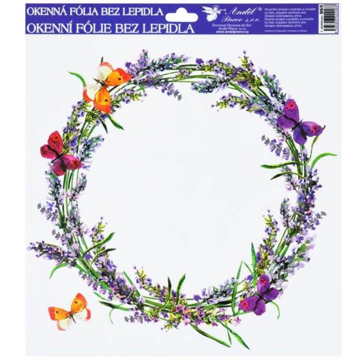 Okenní fólie 30x30 cm, levandule věnec s motýly