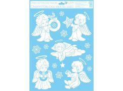Okenní fólie 42 x 30 cm andělé Andílek s hvězdičkou