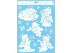 Okenní fólie 42 x 30 cm andělé Andílek se zvonečkem