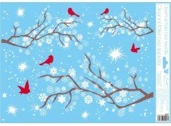 Okenní fólie 42 x 30 cm větve Červení ptáčci