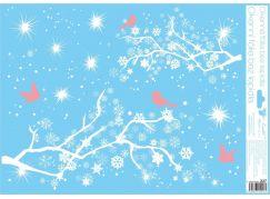 Okenní fólie 42 x 30 cm větve Růžový ptáčci