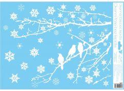 Okenní fólie 42 x 30 cm větve Siluety ptáčků