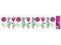 Okenní fólie pruhy s kytkami 64x15 cm Tulipány