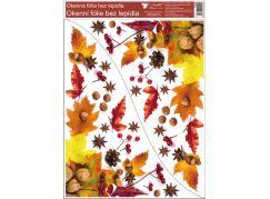 Okenní fólie rohová 30 x 42 cm listí s ořechy