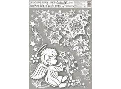 Okenní fólie rohová andílci s duhovými glitry 38 x 30 cm Andílek vlevo