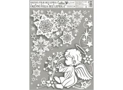 Okenní fólie rohová andílci s duhovými glitry 38 x 30 cm Andílek vpravo