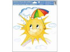 Okenní fólie ručně malovaná sluníčka 30x30 cm sluníčko s deštníkem
