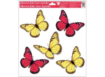 Okenní fólie s glitry motýli 33x30 cm červeno-žluté