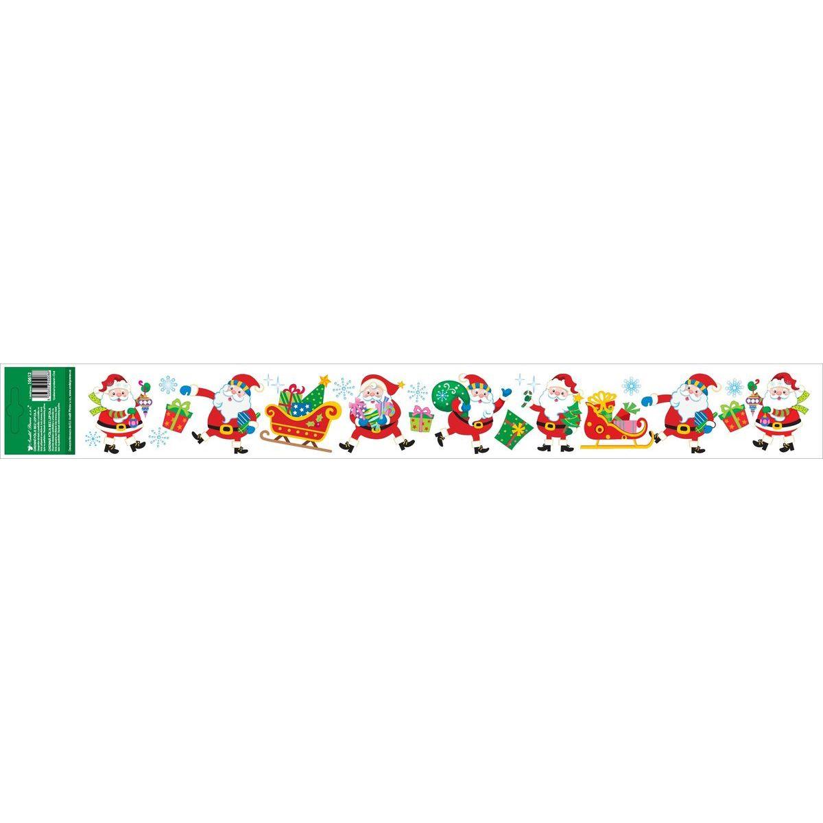 Okenní fólie s glitry pruh s dětskými motivy 59 x 7 cm Santa Klaus