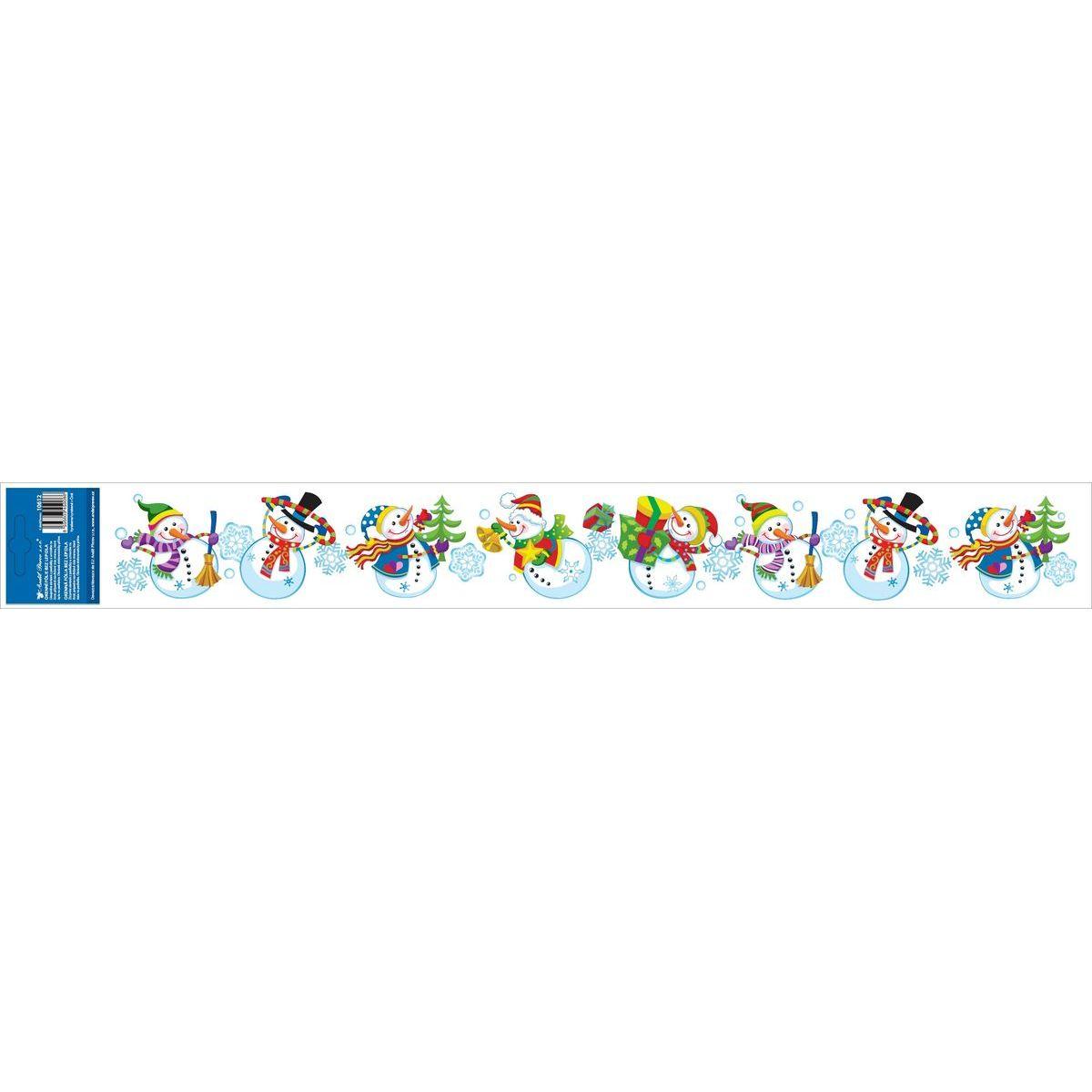 Okenní fólie s glitry pruh s dětskými motivy 59 x 7 cm Sněhuláci