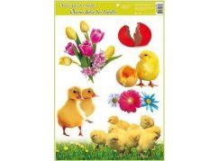 Okenní fólie velikonoční živá kuřátka 30x42 cm tulipány