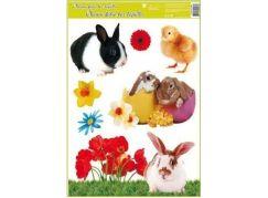 Okenní fólie velikonoční živá kuřátka 30x42 cm černobílý králíček