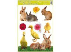 Okenní fólie velikonoční živá kuřátka 30x42 cm králíčci
