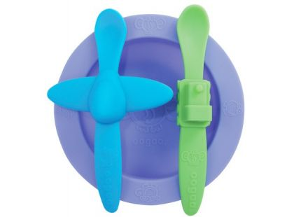 Oogaa Sada nádobí - Fialový talíř, modrozelený příbor
