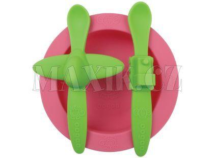 Oogaa Sada nádobí - Růžový talíř, zelený příbor
