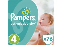 Pampers Active Baby Dry 4 Maxi 76ks