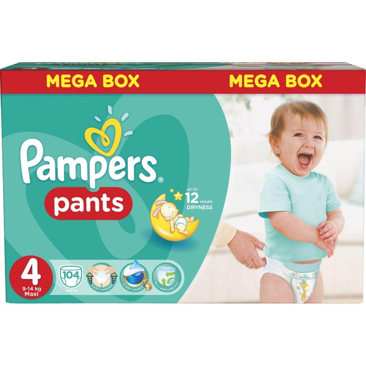 Pampers Kalhotkové plenky Mega Box 4 Maxi 104ks - Poškozený obal