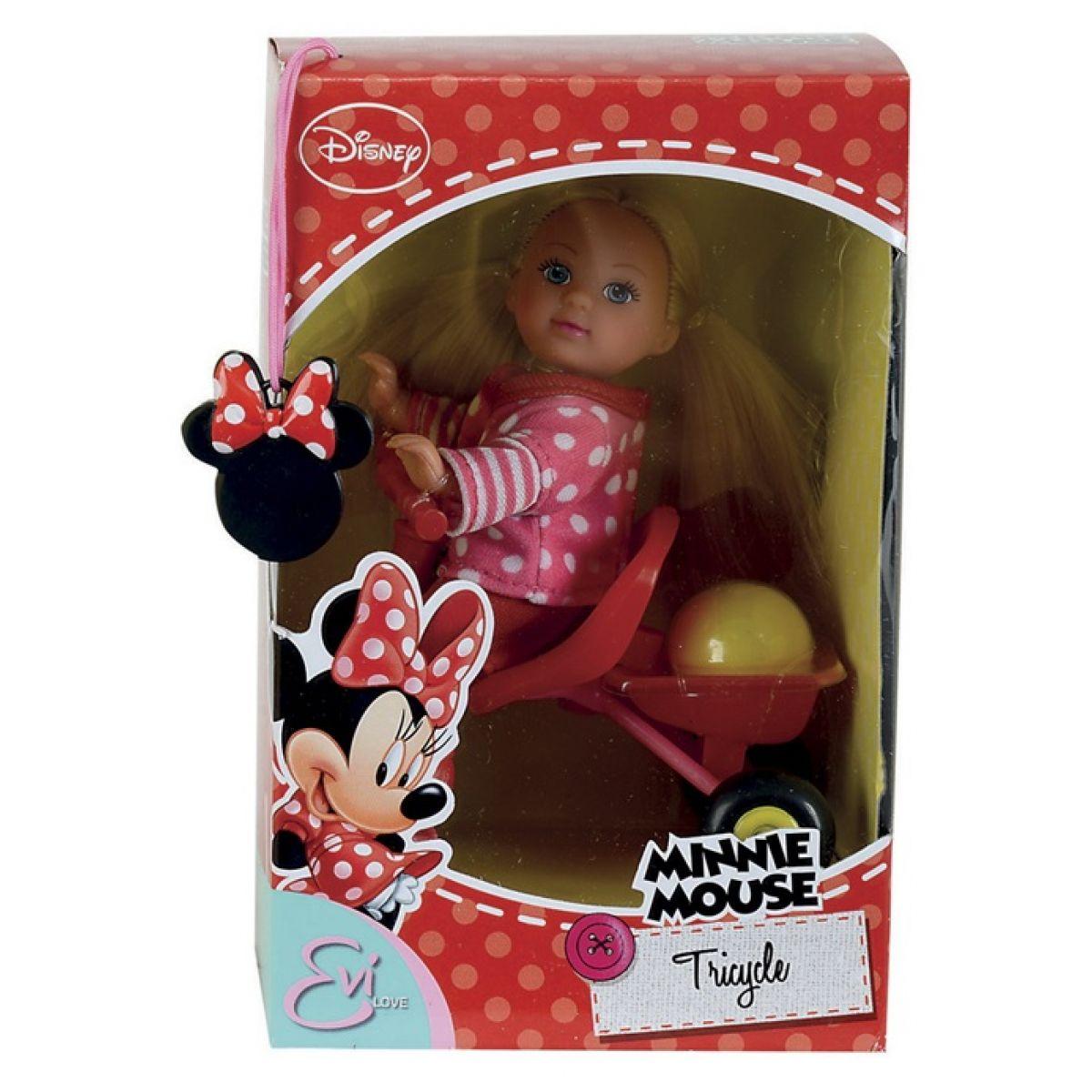 Panenka Evička Minnie Mouse na tříkolce Červené boty