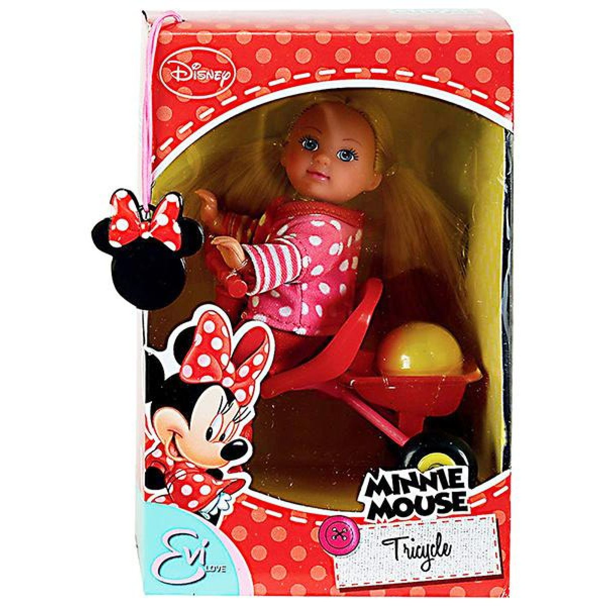 Panenka Evička Minnie Mouse na tříkolce žluté boty