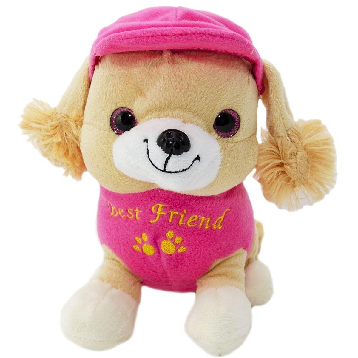 Pes v oblečku štěkací 20 cm růžový