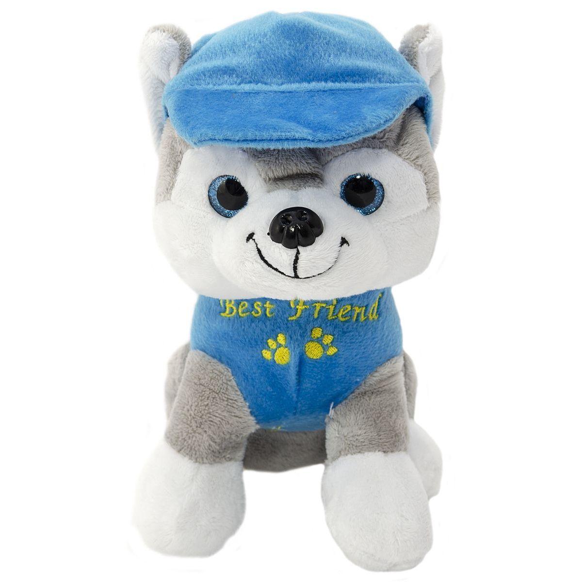 Pes v oblečku štěkací 20 cm modrý