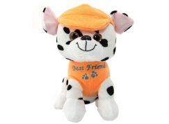 Pes v oblečku štěkací 20 cm oranžový