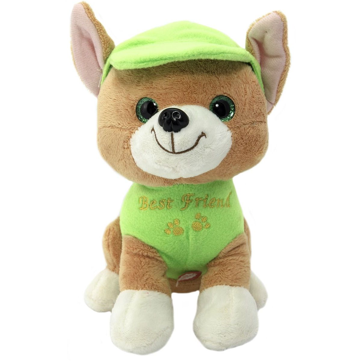 Pes v oblečku štěkací 20 cm zelený