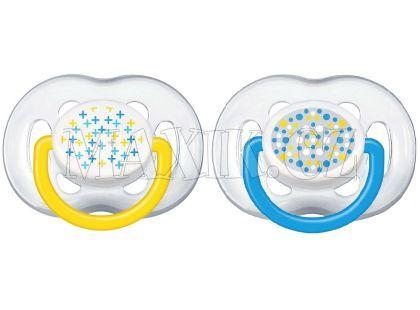Philips Avent Šidítka Sensitive Fantazie 6-18m. 2ks - Modrá a žlutá