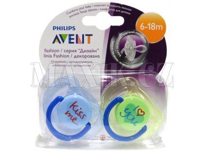 Philips Avent Šidítko Text 6-18m. 2ks - Modrá a zelená