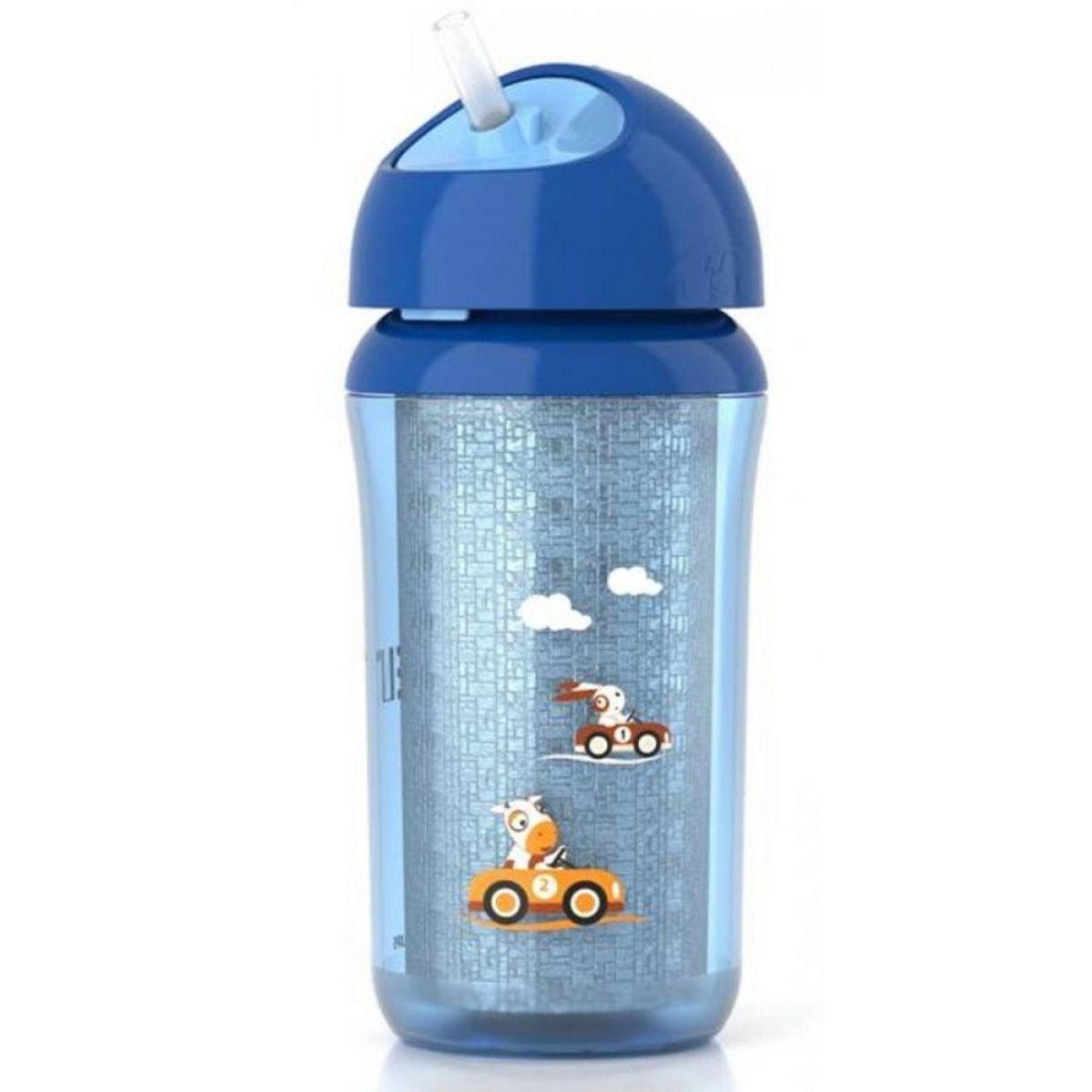 Philips Avent Izolovaný hrneček s brčkem 260 ml - Modrá