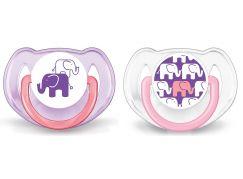 Philips Avent Šidítka Obrázek slon 6-18m. 2ks - Pro děvčata