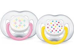 Philips Avent Šidítka Sensitive Fantazie 6-18m. 2ks - Růžová a žlutá