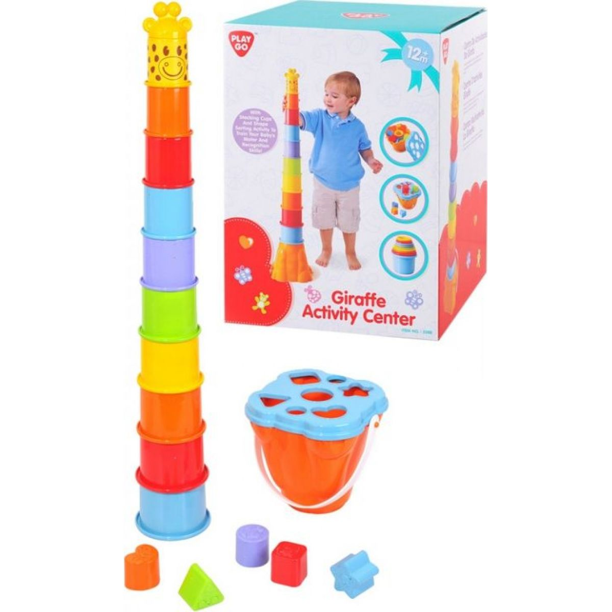 Playgo Barevná Vkládačka žirafa 2 v 1