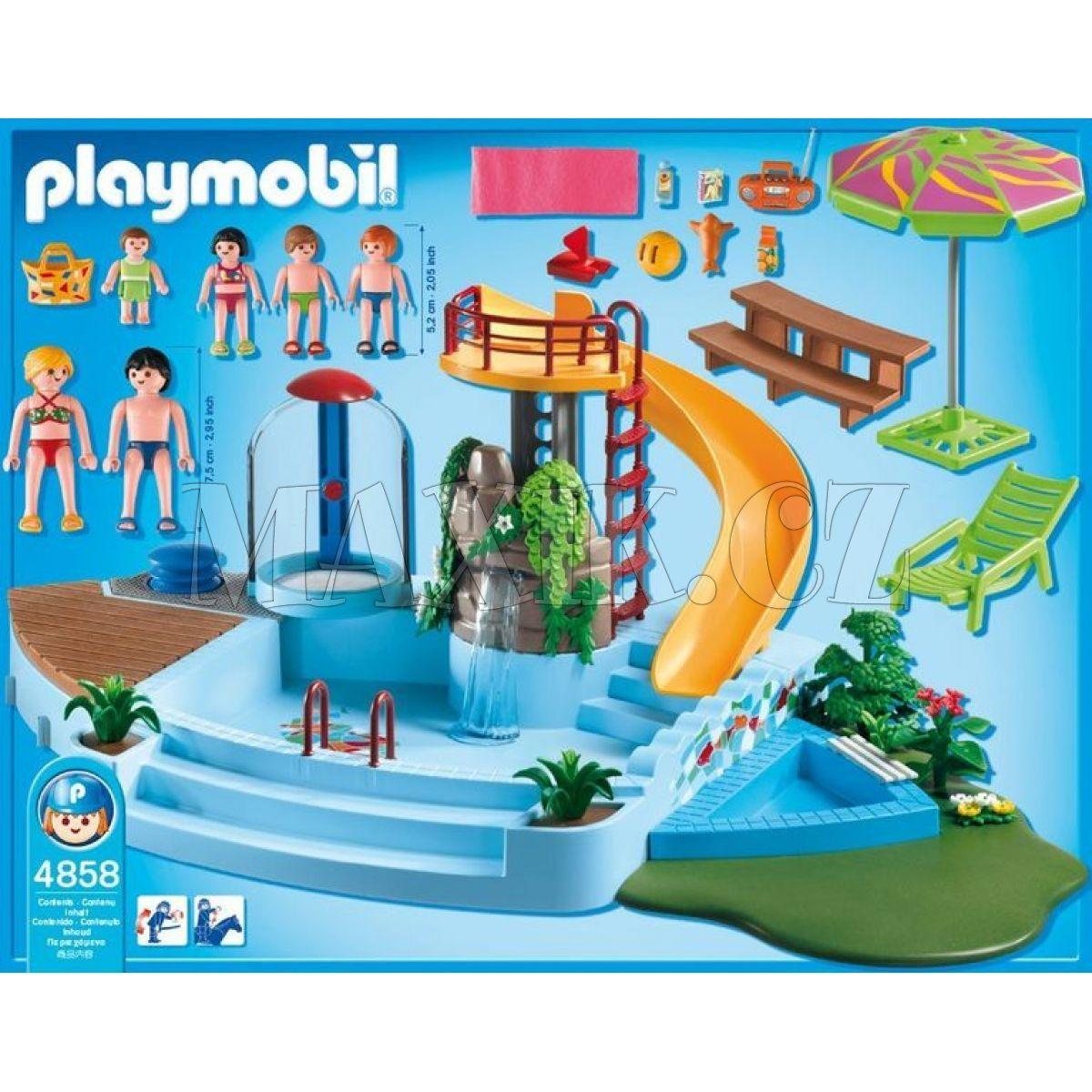 Playmobil 4858 baz n se skluzavkou max kovy hra ky for Playmobil 4858 piscine avec toboggan