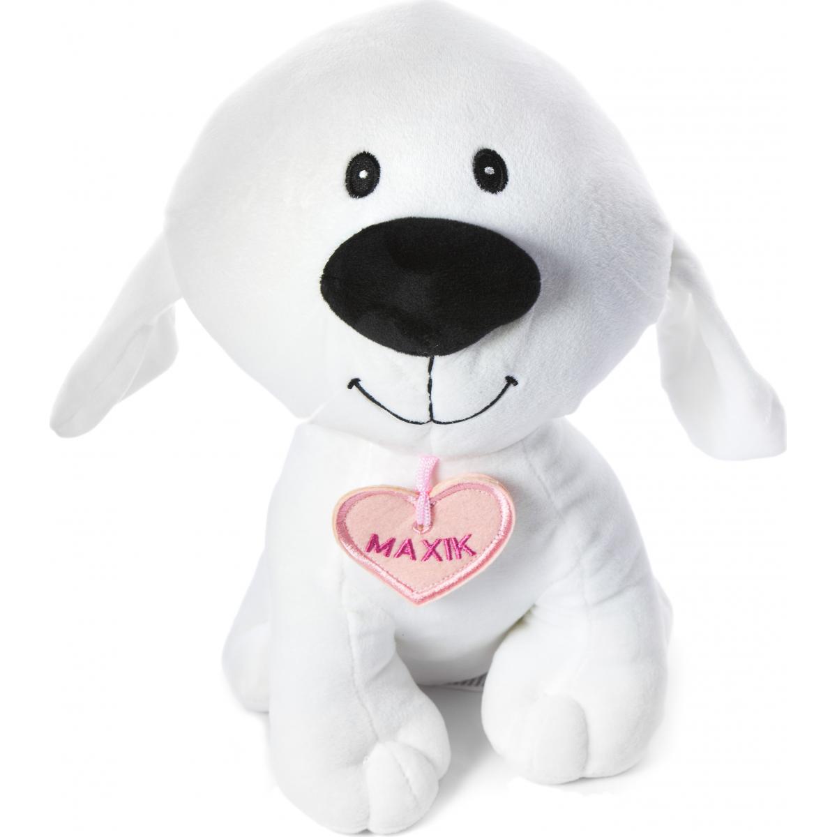 Plyšový pes Maxík velký 30cm srdíčko růžové