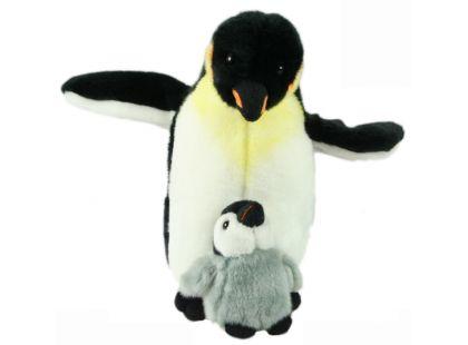 Plyšový tučňák s mládětem 26cm