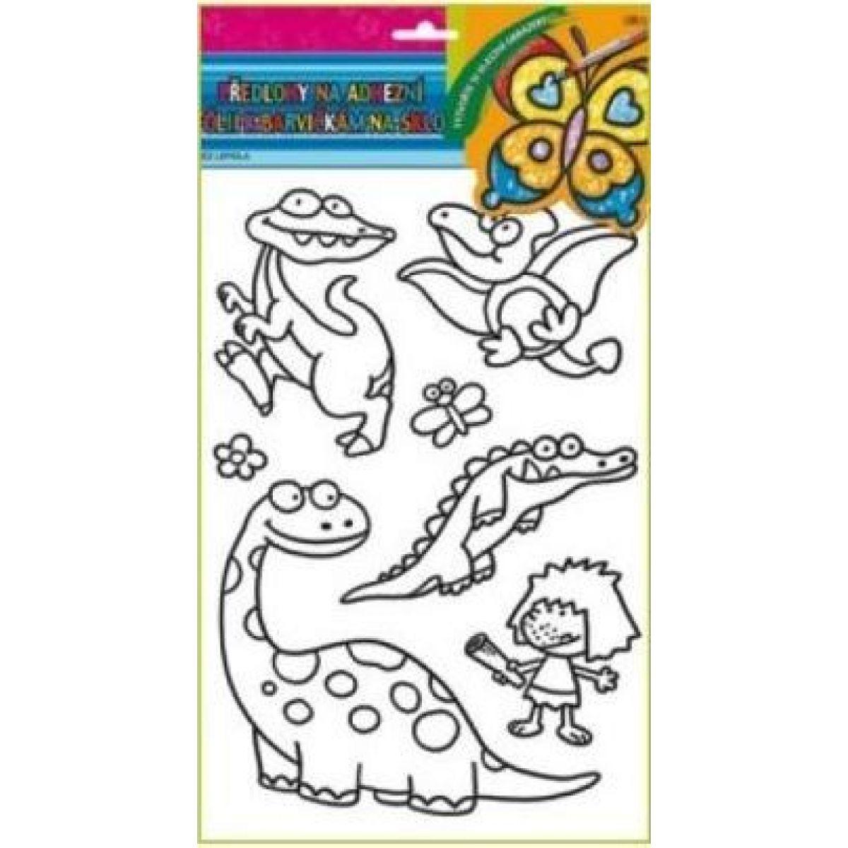 Předlohy na malování na sklo s vyvýšenou konturou Dino obrázek 2