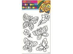 Předlohy na malování na sklo s vyvýšenou konturou motýli narciska