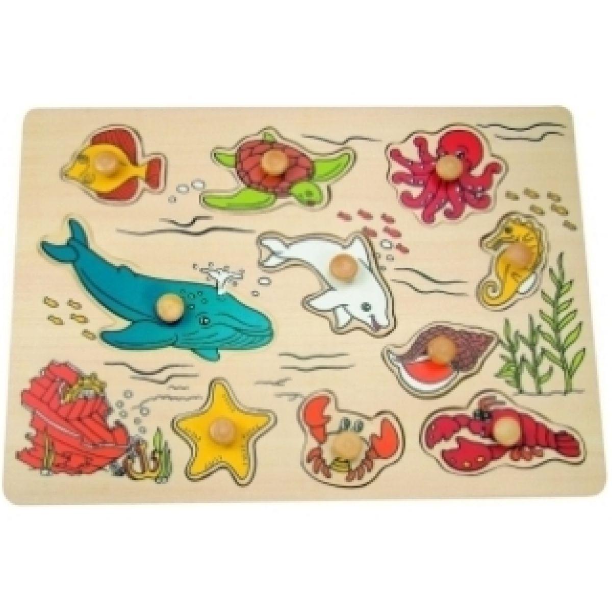 """Puzzle na desce \""""Mořští živočichové\"""" Woody"""