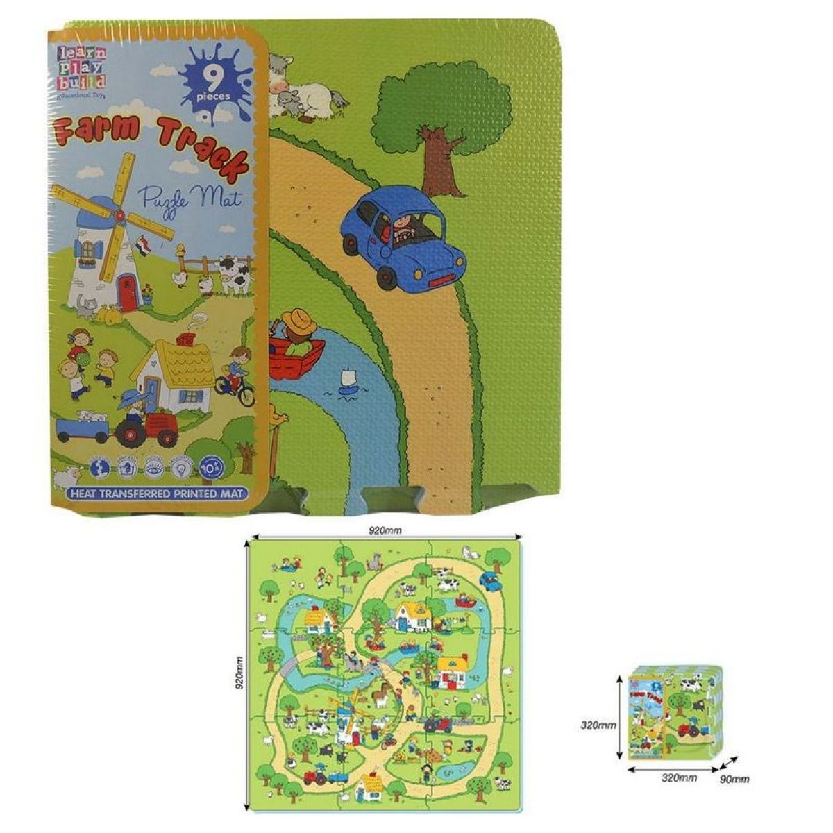 Puzzle pěnové farma 9 ks 32x32cm