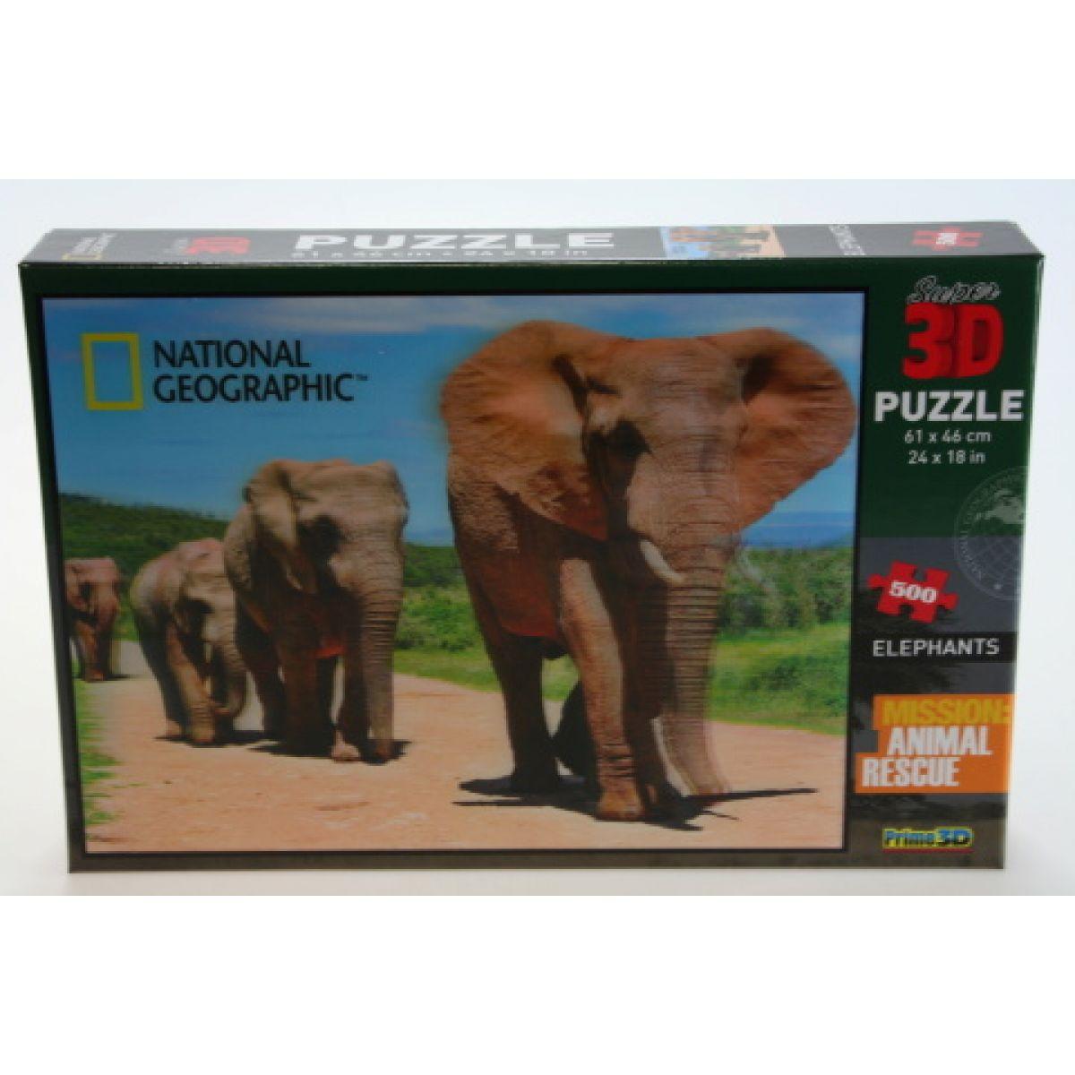 Puzzle Sloni 500 dílků 3D